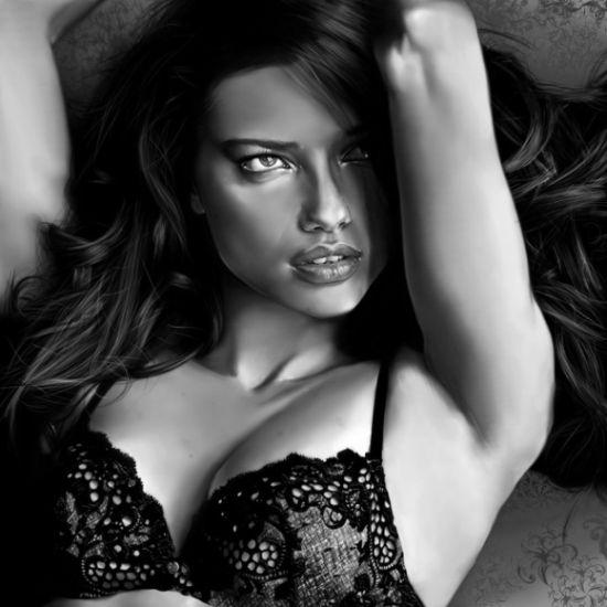 Innes McDougall pinturas digitais realistas fotografias modelos mulheres atrizes preto e branco Adriana Lima