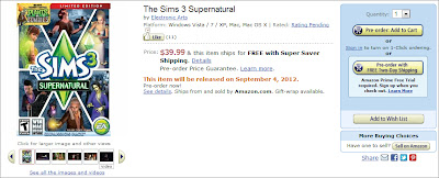 Pré-venda do The Sims 3 Sobrenatural na Amazon