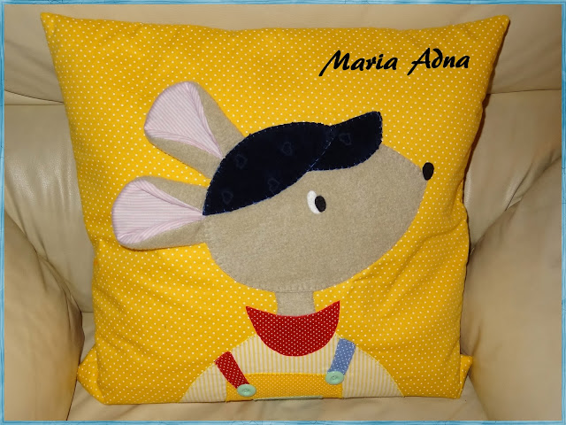 textile applique pillow, almofada infantil com apliquê, Maria Adna, Patchwork-bolsas-e-afins, child applique pillow