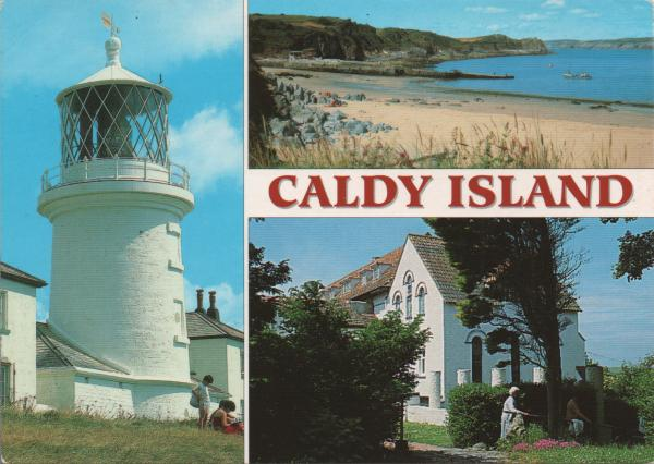 views of Caldey Island lighthouse, beach, monastery