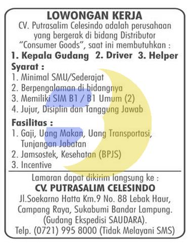 Recruitment CV. Putrasalim Celesindo Lampung