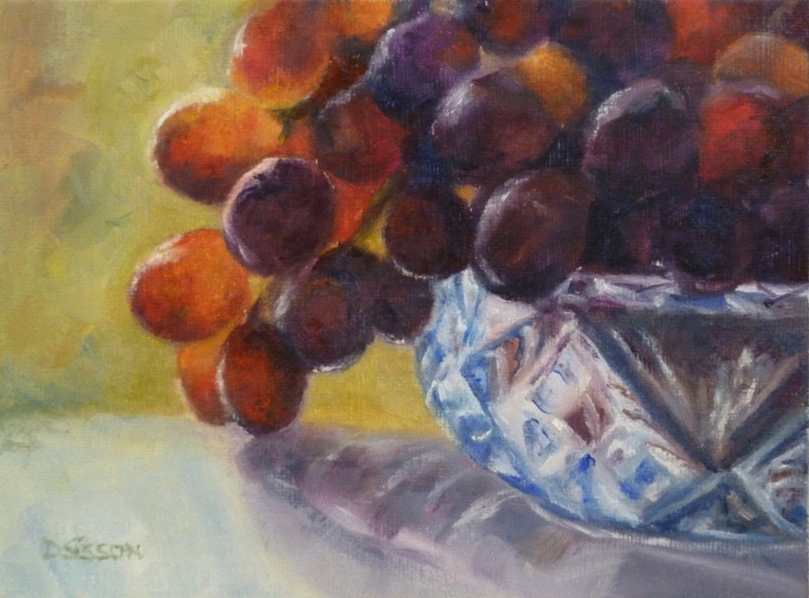 Grapes In Cut Glass. Oil Painting Kitchen Art Still Life Food Fruit