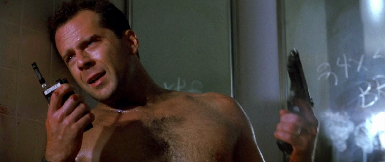Die Hard Bruce Willis film 1988 glass feet bathroom scene screenshot