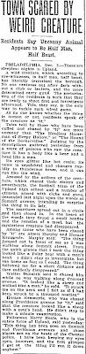 Town Scared By Weird Creature - Duluth News-Tribune 12-3-1906