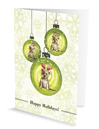 christmas greeting card cute chic sassy dog bauble