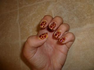 Giraffe animal nail art stamping