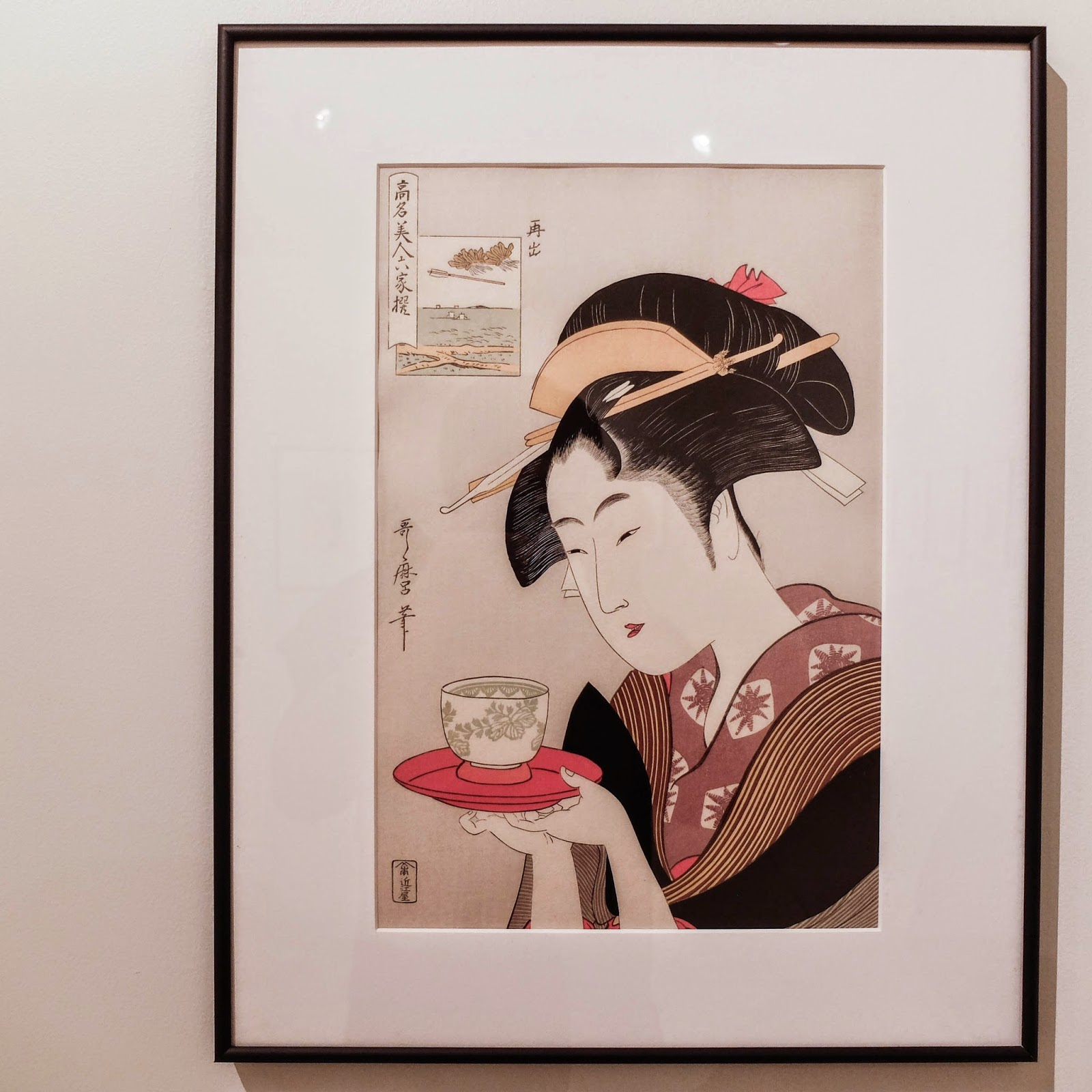 "Ukiyoe Portraits exhibit - Okita of Naniwaya from the series ""Six Famous Beauties"" by Utamaro Kitagawa"