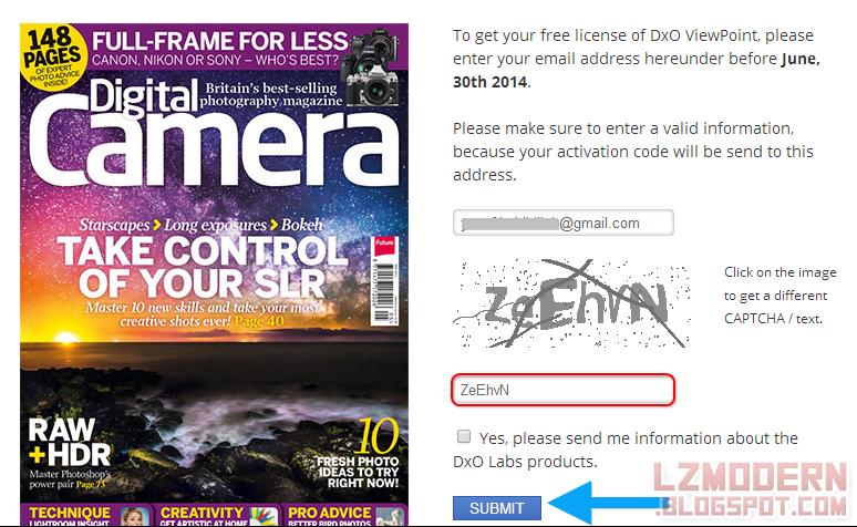 Masukkan alamat email dan kode captcha