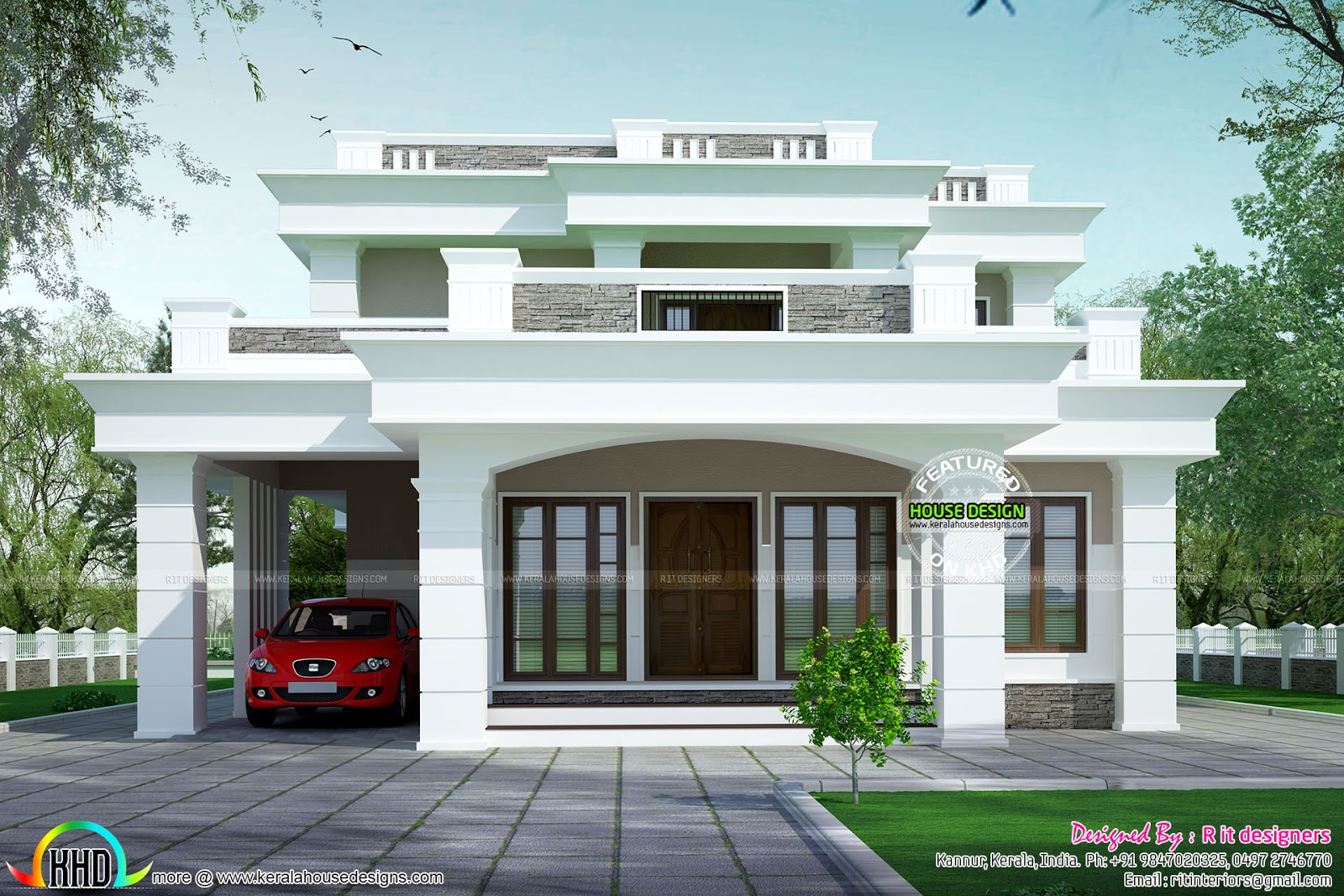 2813 sq ft flat roof box type home kerala home design for Flat roof home plans