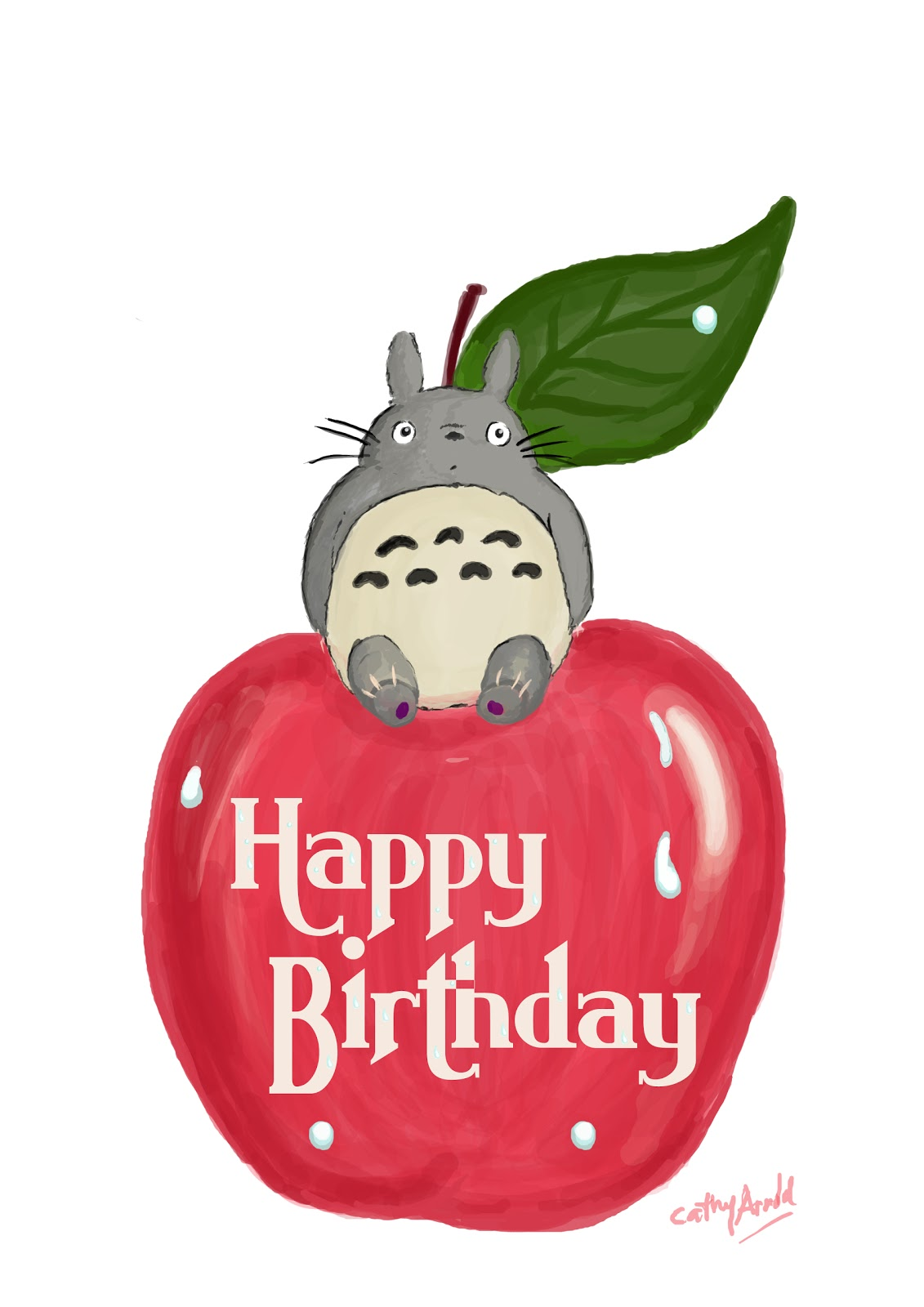 The Lost Weekend totoro in apple – Totoro Birthday Card