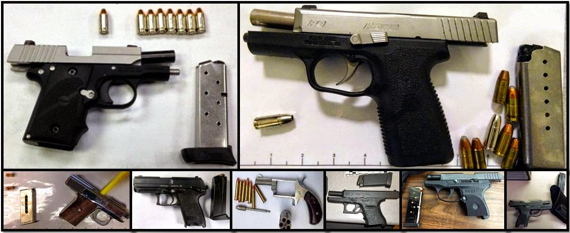 Clockwise from top left, firearms discovered in carry on bags at: GSO, CRP, BNA, SFB, OKC, DEN, FAY & SAT