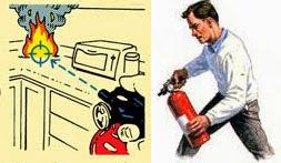 Arahkan nozzle tabung pemadam pada sumber api