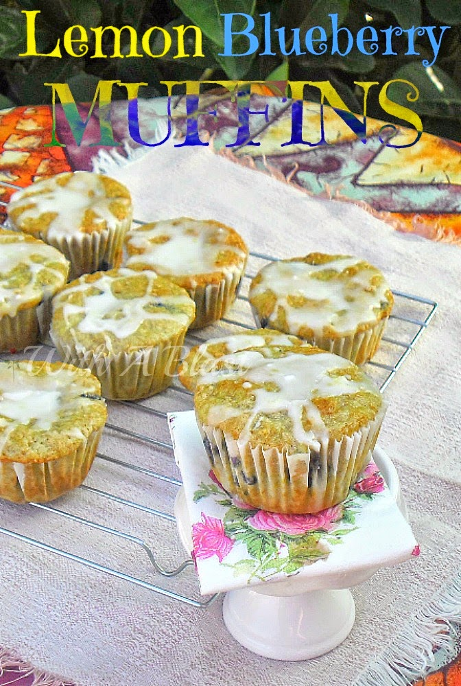 Lemon Blueberry Muffins (Fat Reduced) ~ Reduced in fat, moist Lemon Blueberry muffins are perfect for breakfast or the lunch box #Breakfast #Muffins BlueberryRecipe #LowFat