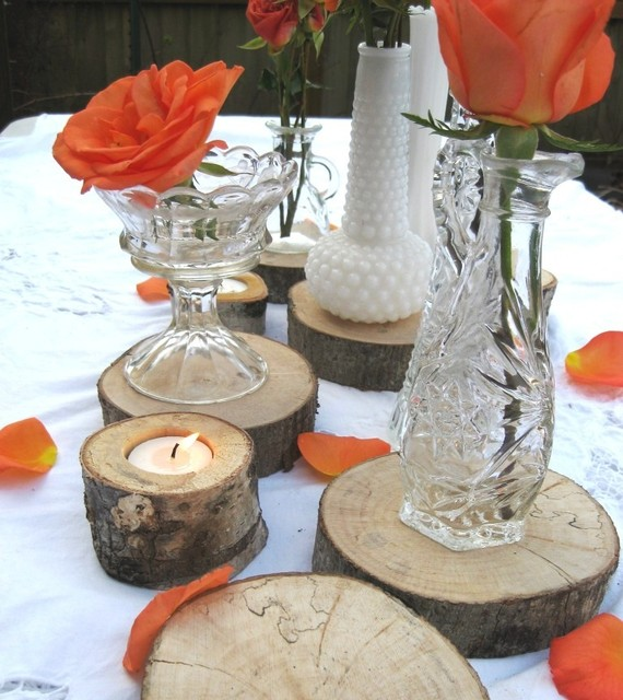 A budget fairy tale moment wood slab centerpieces this