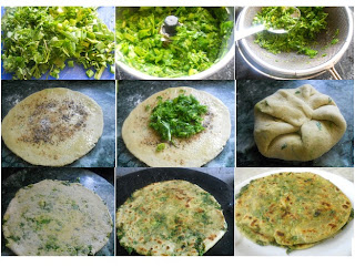 step by step instructions for making green garlic paratha