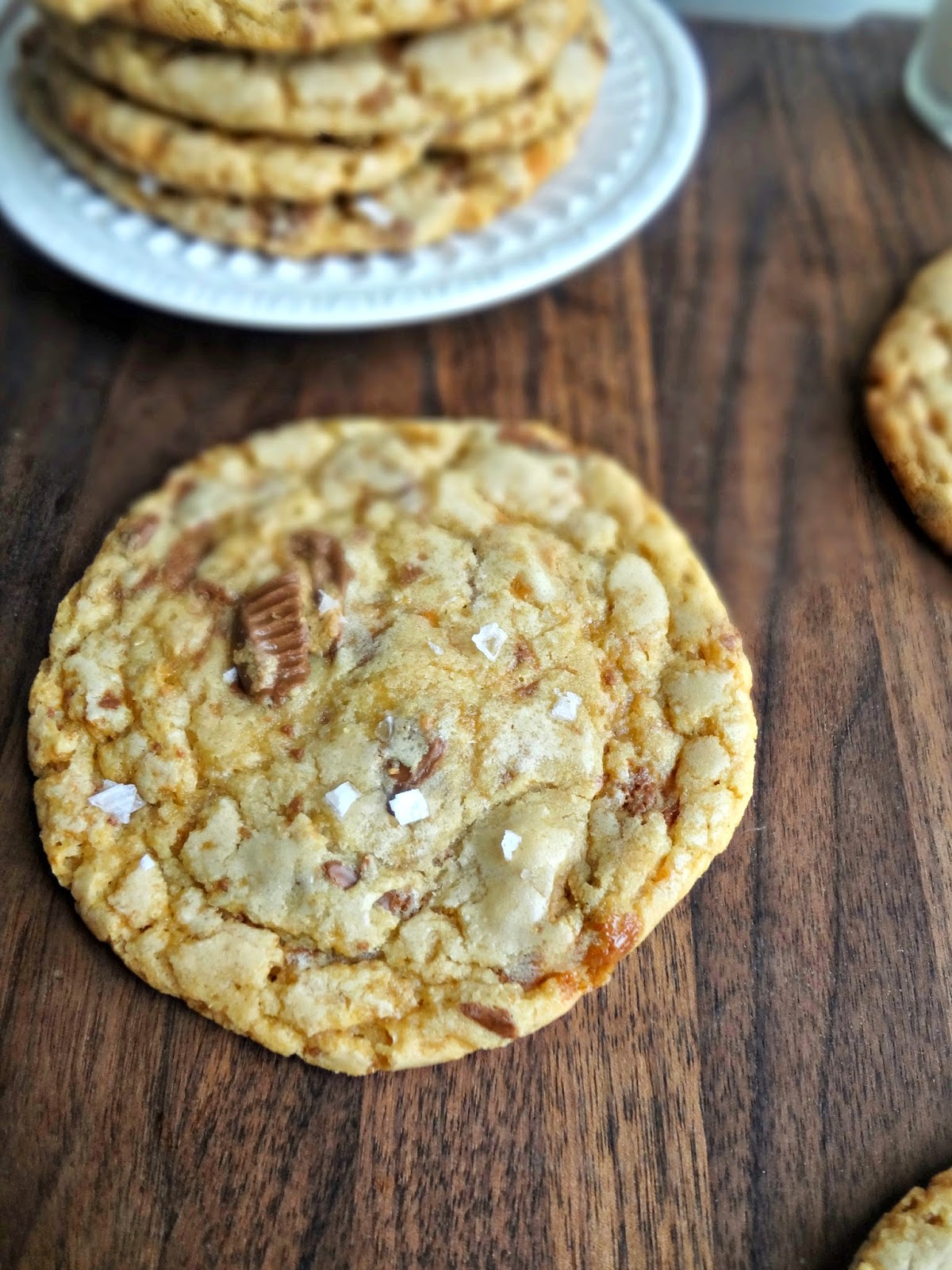 browned butter peanut butter cup crunch cookies with sea salt