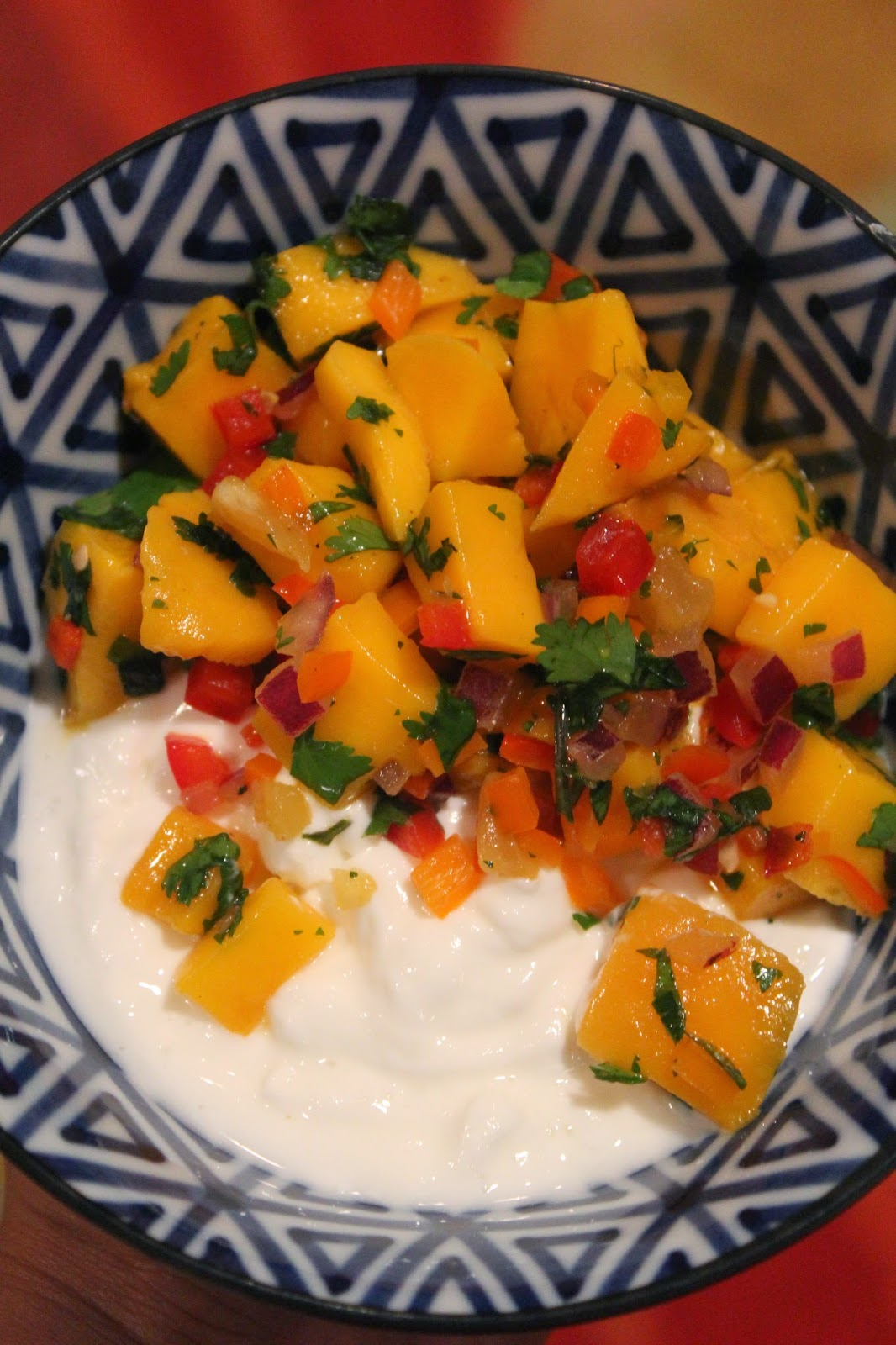 Greek Yogurt with Mango and Sweet Pepper Salsa