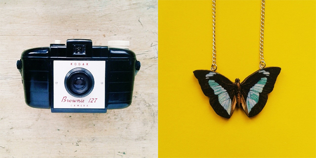 kodak brownie camera and ladybird likes butterfly necklace