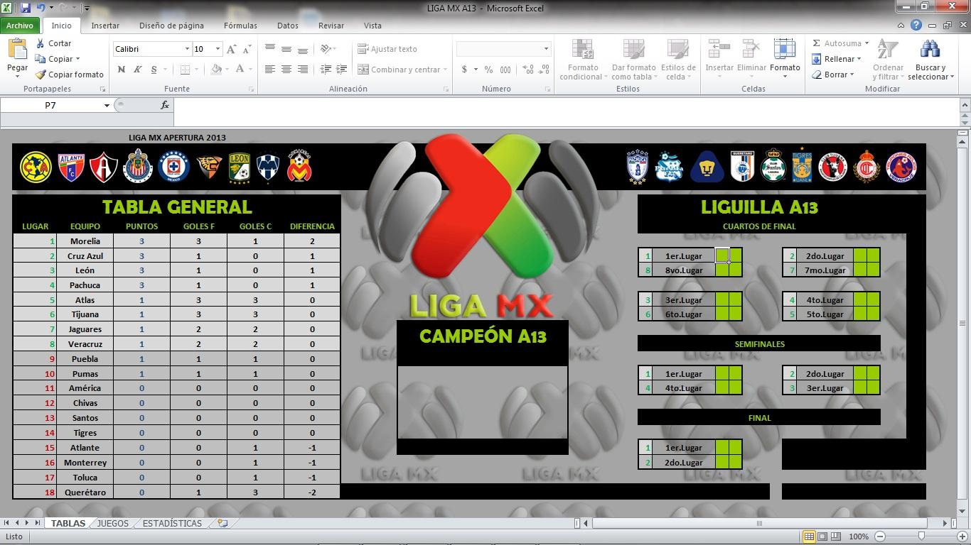 Balón Transmisor : CALENDARIOS EXCEL (LIGA MX Y COPA MX)