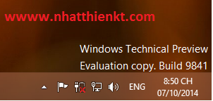 "Xóa bỏ ""Windows technical Preview Evaluation copy Buiil 9841"" trên Windows 10"