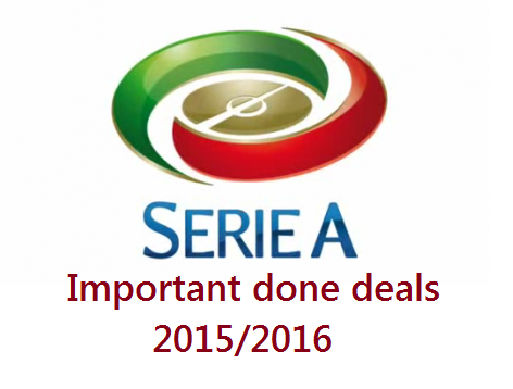 Serie A - Important Done Deals 2015 summer