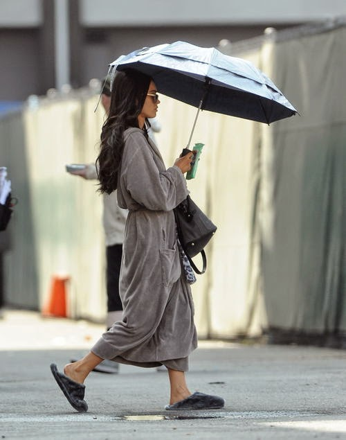 Slippers & bathrobe: Megan Fox pretty casual