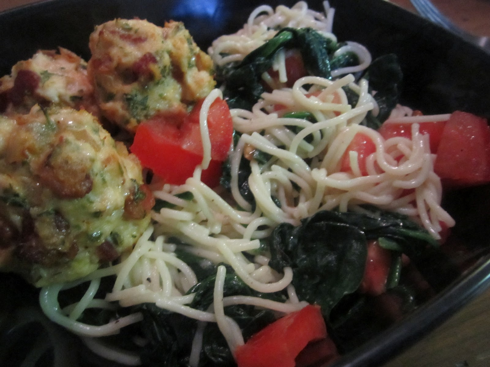 The sweet life baked fresh daily garlic spinach pasta for Baked pasta with meatballs and spinach