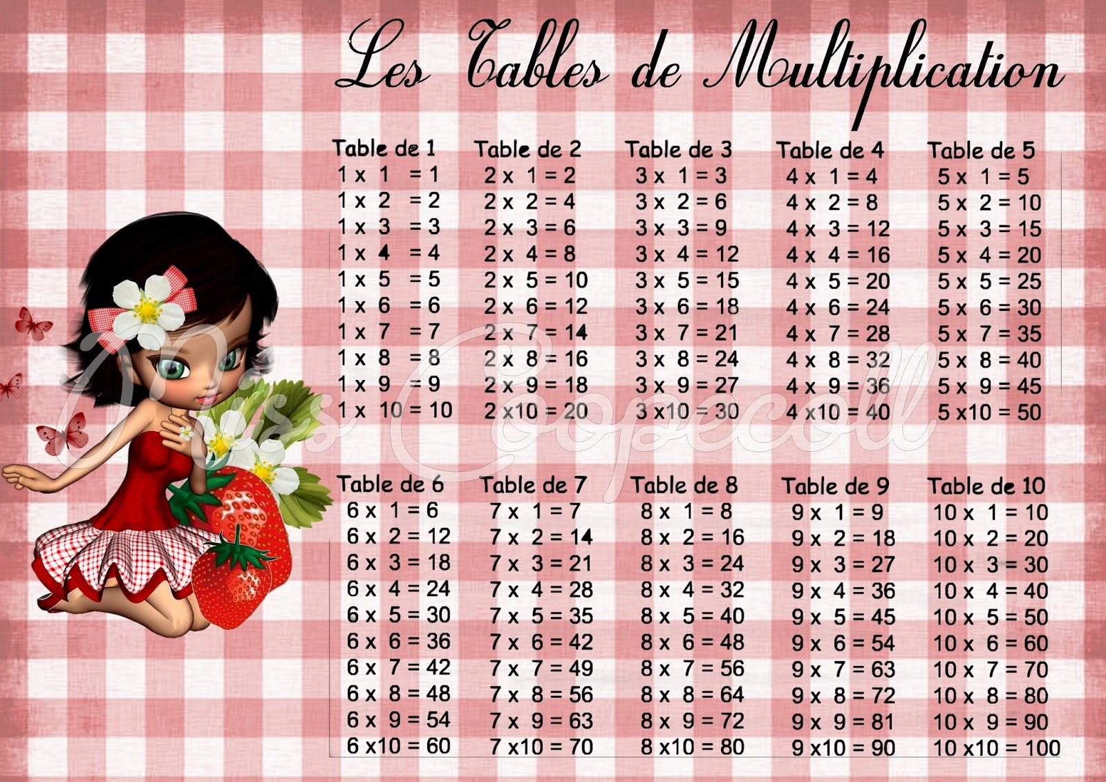 Miss coopecoll f e des bricoles septembre 2014 - Table de multiplication 11 et 12 ...