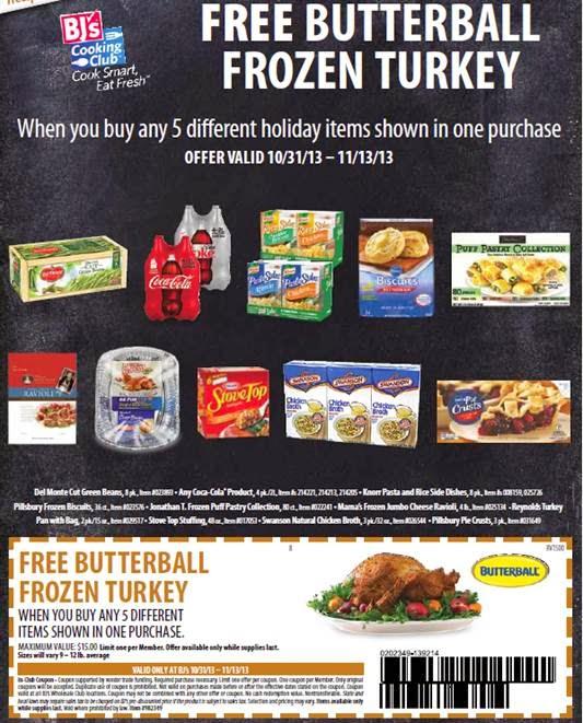 free turkey promotion at bj's wholesale club