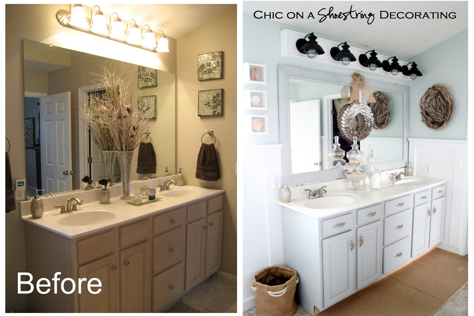 beach coastal bathroom by chic on a shoestring decorating - Painted Bathroom Cabinets Before And After