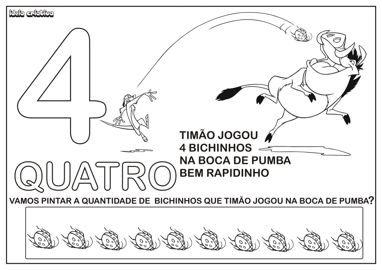 Postado Por Gi Barbosa Marcadores  Atividade Numerais Tim  O E Pumba