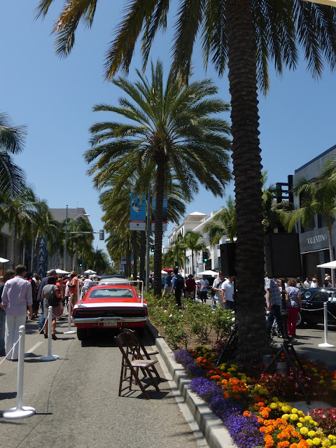Fancy Car Show Beverly Hills Rodeo Drive Cars on display for fathers day concours d'elegance event