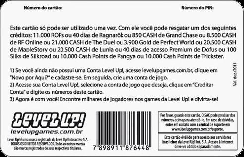 Cartão Pré-Pago Level Up!