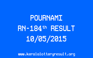 POURNAMI RN 184 Lottery Result 10-5-2015