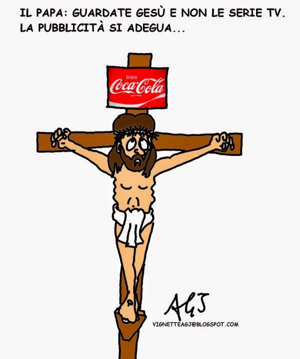 papa Francesco , serie tv, pubblicità, satira vignetta
