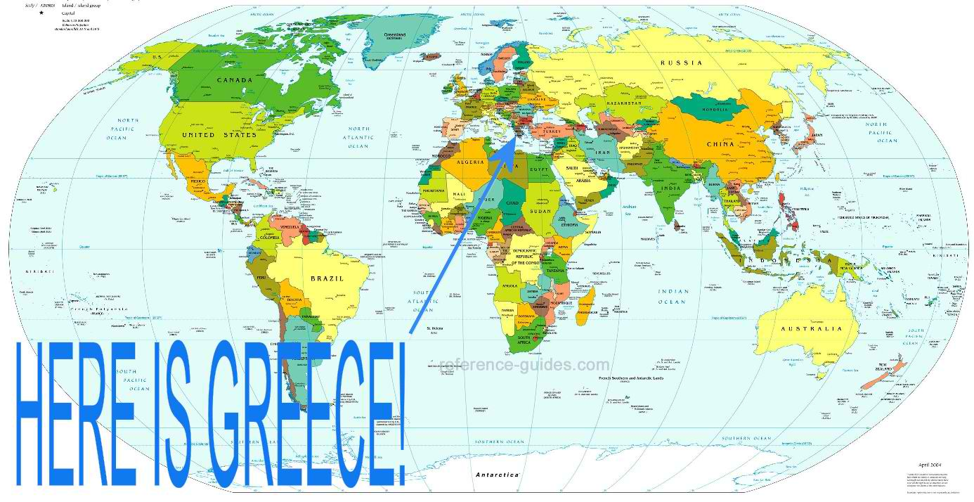 it doesn t look so far away on this map above does it not the clearest of maps but one which locates greece and its geographical position in the world