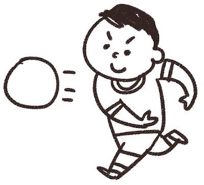 ドッジボールのイラスト 白黒線画