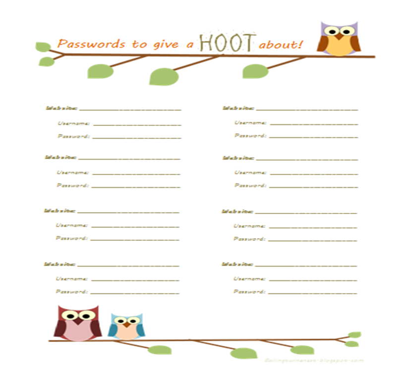 It is a graphic of Satisfactory Password Organizer Template