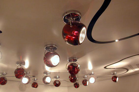 Red Fabbian Beluga Ceiling Spot Lights, Fabbia Color spots