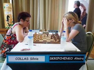 Échecs à Pau - ronde 7 : Silvia Collas (2274) 0-1 Almira Skripchenko (2442) - Photo © FFE