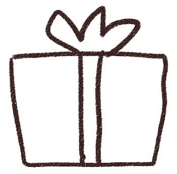 プレゼントのイラスト 白黒線画