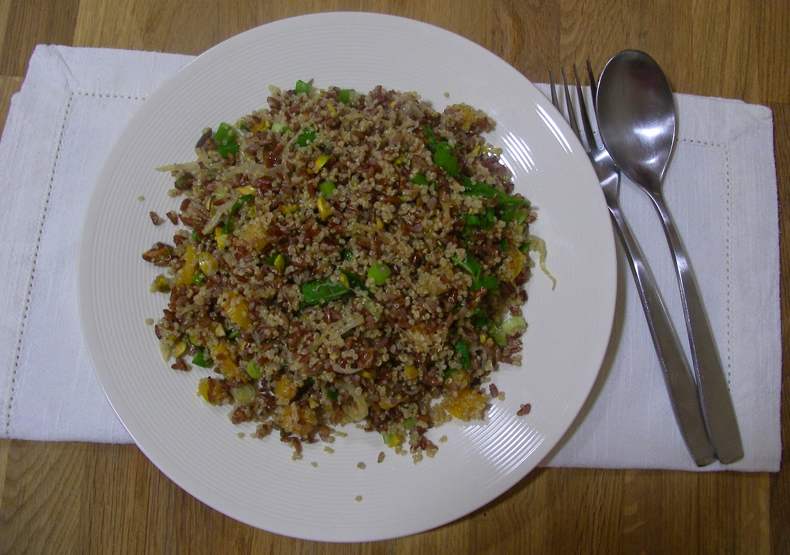 Camargue red riceand quinoa with orange, dried apricots and pistachios