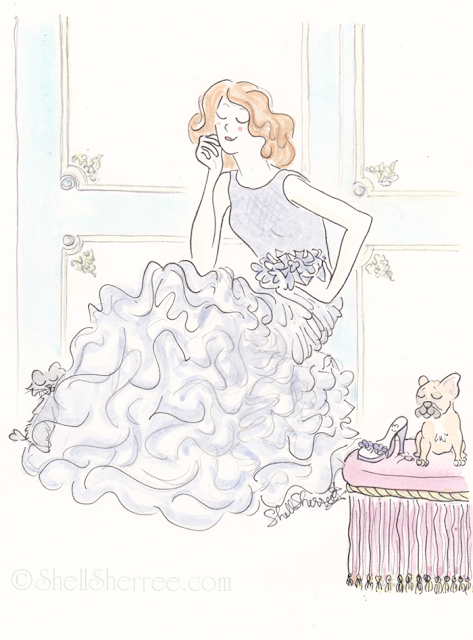 Fashion and Fluffballs illustration : Ruffled by a Sea of Ruffles © Shell-Sherree