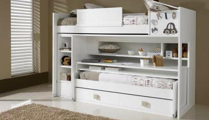 Literas blancas lacadas - Dormitorios con literas para ninos ...