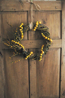 wreath with crab apple garland
