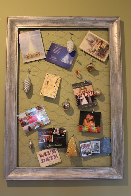 display cards on framed chicken wire