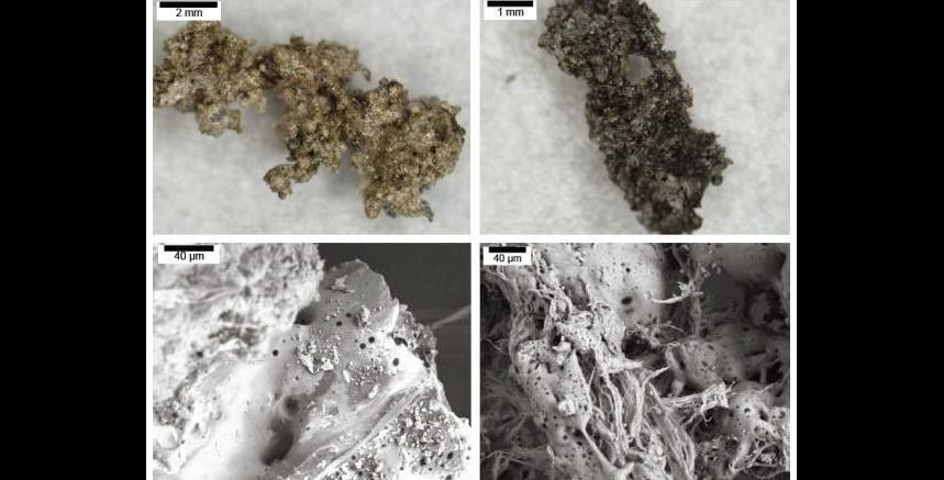 Impact material generated without the presence of carbon from complex organics, top left, is lighter than material generated with carbon, top right. Scanning electron microscope images, bottom row, show finer-scale structure and texture variations. Images: NASA/Ames