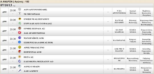 Ξεκινά η Α Ανδρών. Το πρόγραμμα της Δευτέρας (07.10.2013)  συμπληρώνουν τρεις (3) αναμετρήσεις της Δ Ανδρών