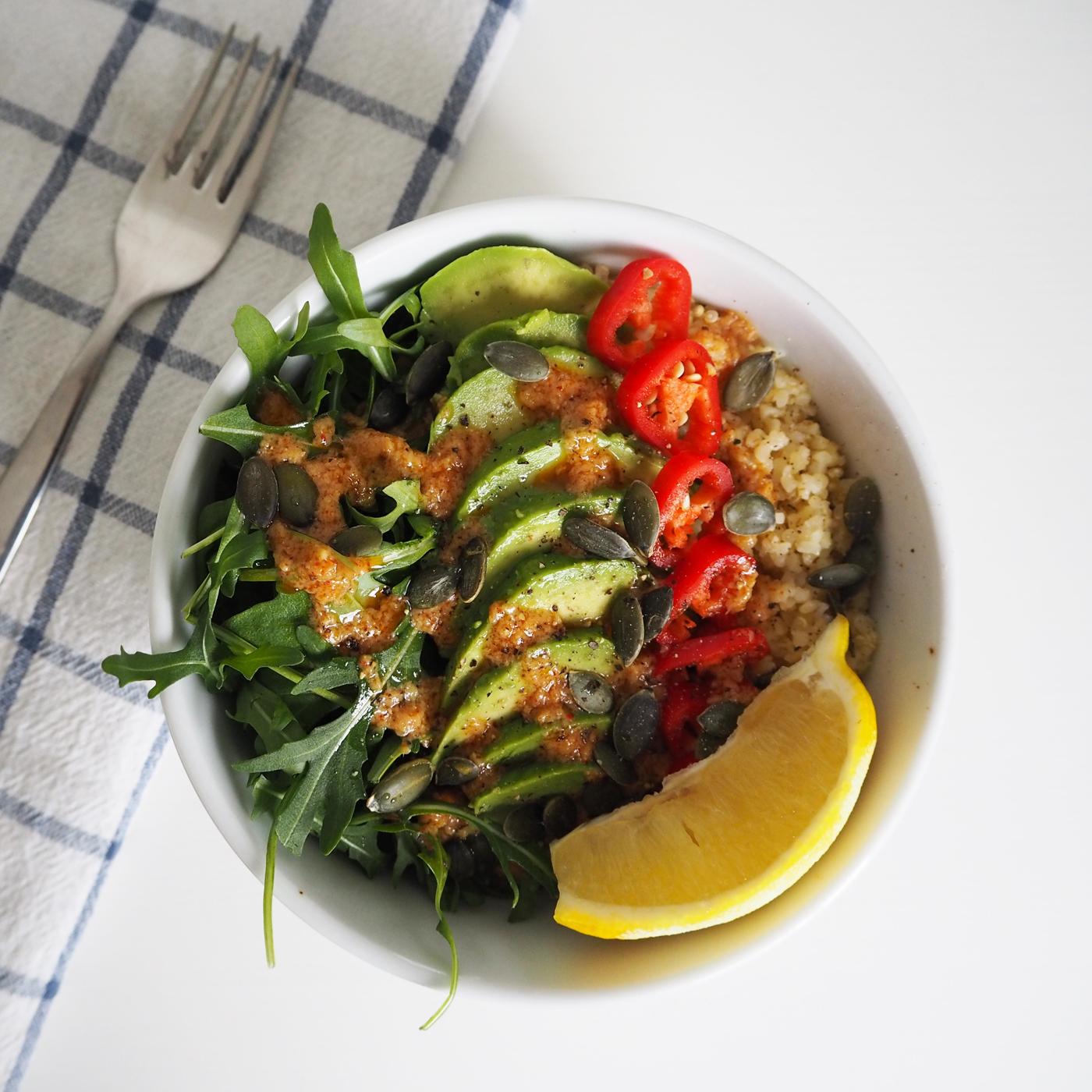 Miso rocket and avocado quinoa bowl