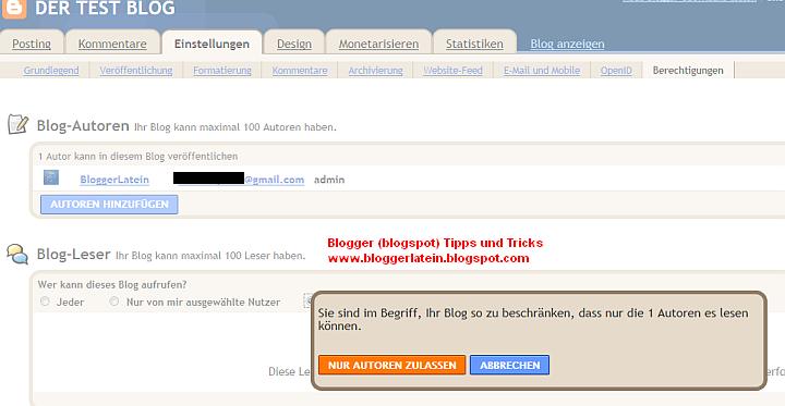 Blogger Blogspot nicht öffentlich machen